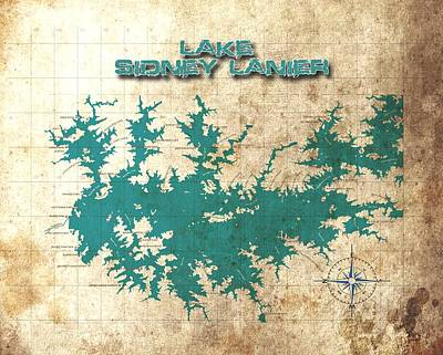Catfish Digital Art - Vintage Map - Sidney Lanier Ga by Greg Sharpe