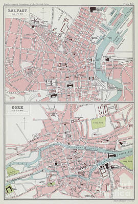 Vintage Maps Of Belfast And Cork Art Print