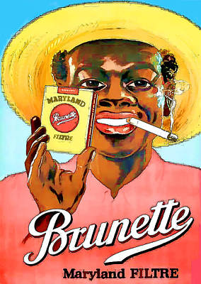 Digital Art - Vintage Maryland Brunette Filter Cigarette Advert - Circa 1920's by Marlene Watson