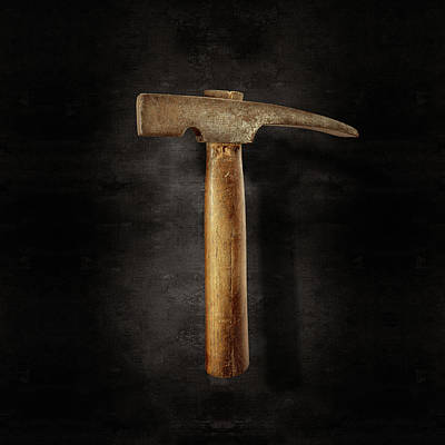 Photograph - Vintage Masonry Hammer On Black by YoPedro