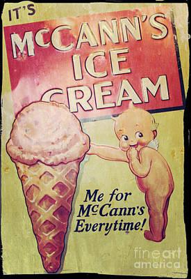 Vintage Mccann's Ice Cream Sign Art Print
