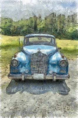 Vintage Mercedes-benz Pencil Art Print by Edward Fielding