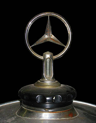 Three Points Photograph - Vintage Mercedes Radiator Cap by David and Carol Kelly
