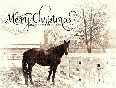 Photograph - Vintage Merry Christmas With Horse by Joann Copeland-Paul