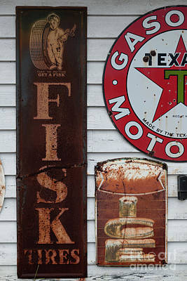 Photograph - Vintage Metal Fisk Tires Sign by Dale Powell