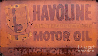 Photograph - Vintage Metal Havoline Motor Oil Sign by Dale Powell