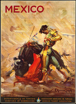 George Pedro Art Photograph - Vintage Mexico Bullfight Travel Poster by George Pedro