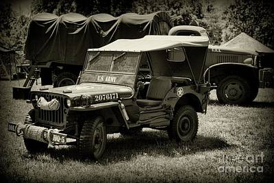 Photograph - Vintage Military Vehicles In Black And White by Paul Ward