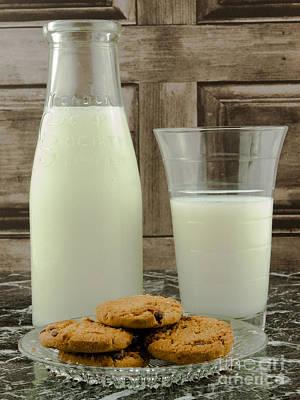Vintage Milk Bottle And Cookies Art Print by F Helm