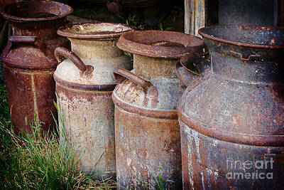 Old Milk Jugs Photograph - Vintage Milk Cans by Priscilla Burgers