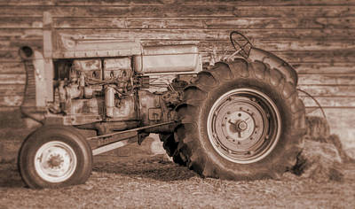 Photograph - Vintage Minneapolis Moline Tractor Sepia by David King