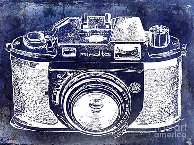 Camera Art Photograph - Vintage Minolta Camera Blue by Jon Neidert