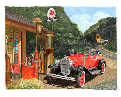 Art Mobile Painting - Vintage Mobilgas Station  by Jack Pumphrey