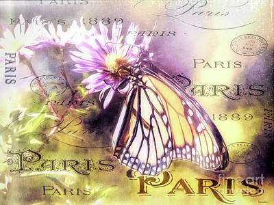 Digital Art - Vintage Monarch Butterfly Print by Tina LeCour
