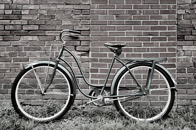 Photograph - Vintage Montgomery Ward Bicycle 2 In B/w by Greg Jackson