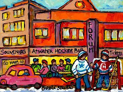 Painting - Vintage Montreal Forum Winter Scene With Outdoor Street Hockey Game Canadian Painting For Sale  by Carole Spandau