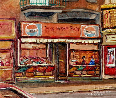 Painting - Vintage Montreal Fruit Shop Ave Du Parc Montreal City Scene Painting Canadian Art Carole Spandau     by Carole Spandau