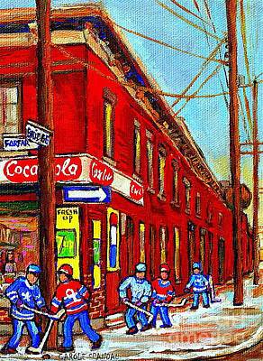 Painting - Vintage Montreal Winter Street Scene Art Goose Village Piche Grocery Store Carole Spandau            by Carole Spandau