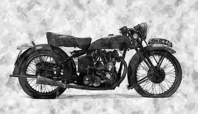 Wall Art - Digital Art - Vintage Motorcycle #1 by George Michael