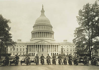 Capitol Building Photograph - Vintage Motorcycle Police - Washington Dc  by War Is Hell Store