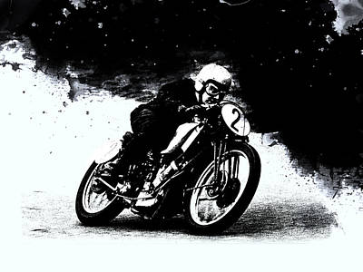Vintage Motorcycle Racer Art Print by Mark Rogan