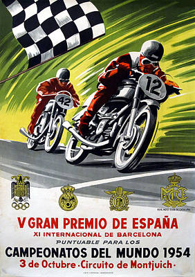 Digital Art - Vintage Motorcycle Racing Art - Circa 1954 by Marlene Watson