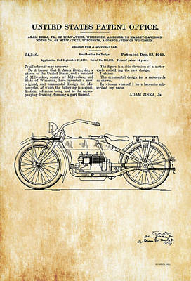 Digital Art - Vintage Motorcycle Us Patent Art - 1919 by Marlene Watson
