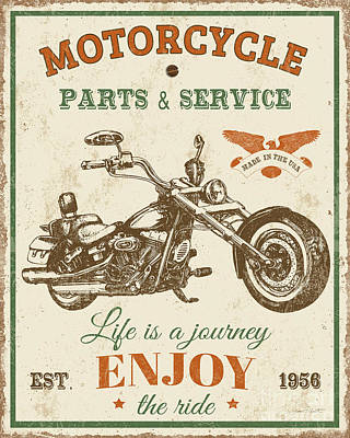 Digital Art - Vintage Motorcycling Mancave-c by Jean Plout