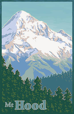 Kitchen Digital Art - Vintage Mount Hood Travel Poster by Mitch Frey