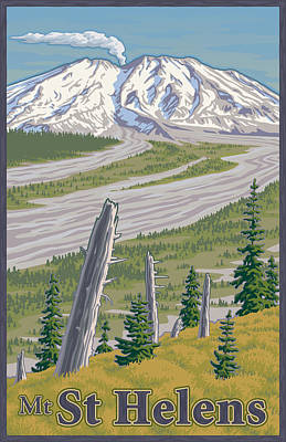 Cascades Digital Art - Vintage Mount St. Helens Travel Poster by Mitch Frey