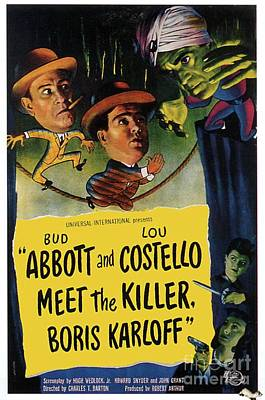 Bela Lugosi Painting - Vintage Movie Posters, Abbott And Costello Meet The Killer by Esoterica Art Agency