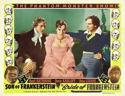 Bela Lugosi Painting - Vintage Movie Posters, Son And Bride Of Frankenstein by Esoterica Art Agency
