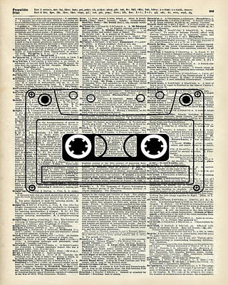 Music Player Drawing - Vintage Music Cassette  by Jacob Kuch