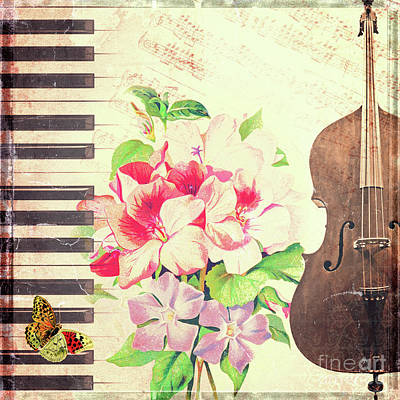 Cello Photograph - Vintage Music by Delphimages Photo Creations