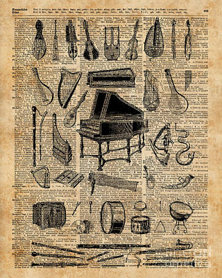 Piano Digital Art - Vintage Music Instruments Dictionary Art by Jacob Kuch