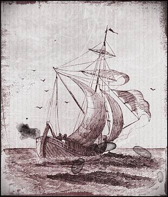 Drawing - Vintage Nautical Black And White Sailing Ship by Vintage Nautical Art