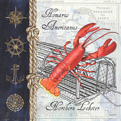 Vintage Nautical Lobster Art Print by Debbie DeWitt