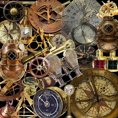 Photograph - Vintage Nautical Montage by Andrew Fare