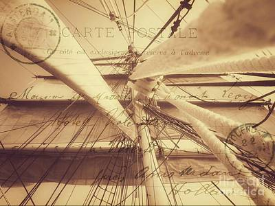 Photograph - Vintage Nautical Sailing Typography In Sepia by Leah McPhail