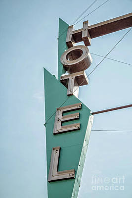 Photograph - Vintage Neon Sign Hotel Livingston Montana by Edward Fielding