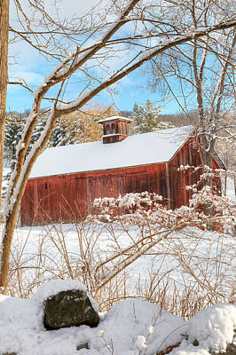 Winter Landscape Photograph - Vintage New England Barn Portrait by Bill Wakeley
