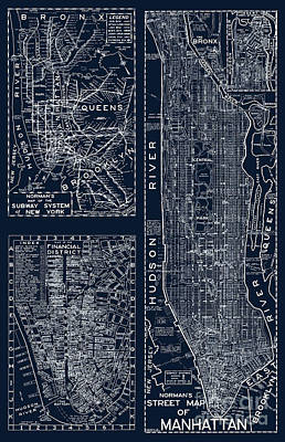 City Scenes Paintings - Vintage New York City Street Map by Mindy Sommers