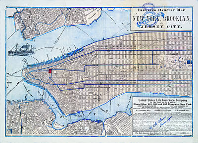 City Scenes Royalty-Free and Rights-Managed Images - Vintage New York map by Delphimages Photo Creations
