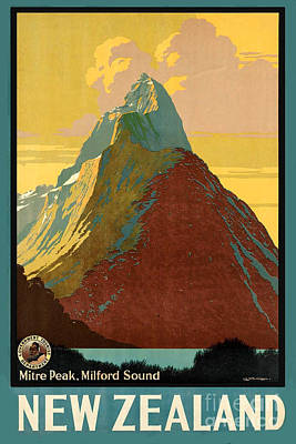 Impressionism Photos - Vintage New Zealand Travel Poster by George Pedro