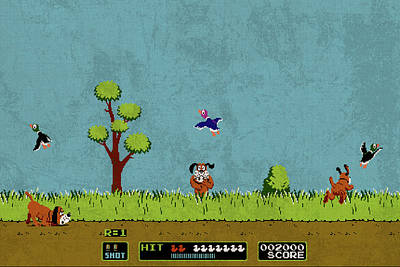 Vintage Video Game Mixed Media - Vintage Nintendo Nes Duck Hunt Game Scene by Design Turnpike