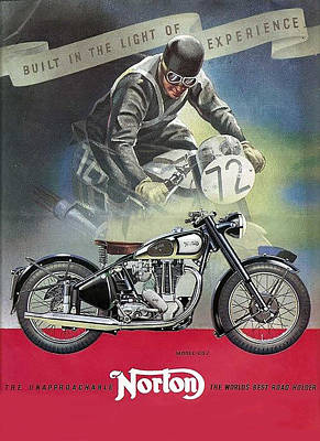 Digital Art - Vintage Norton Motorcycle Poster by Marlene Watson