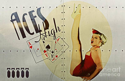 Pin Digital Art - Vintage Nose Art Aces High by Cinema Photography