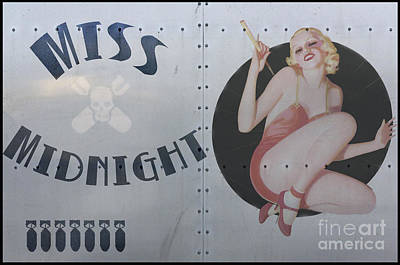 Pin Digital Art - Vintage Nose Art Miss Midnight by Cinema Photography