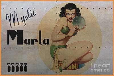 Pin Digital Art - Vintage Nose Art Mystic Marla by Cinema Photography