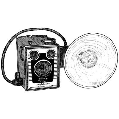 Illustrate Drawing - Vintage Old Brownie Camera by Karl Addison